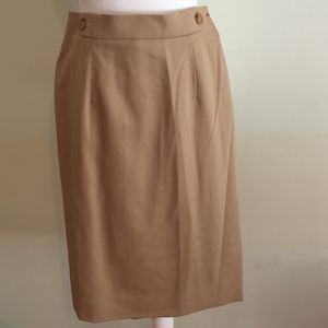 CARLISLE khaki/tan pencil skirt with waist buttons